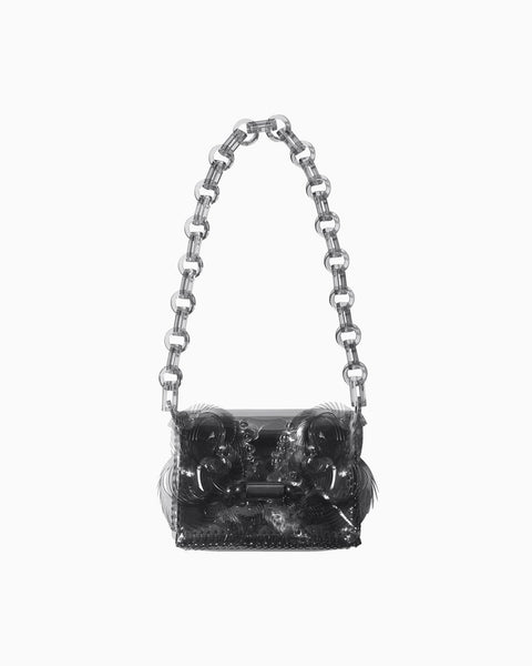 Vinyl Chloride Cloth Chain Bag - black