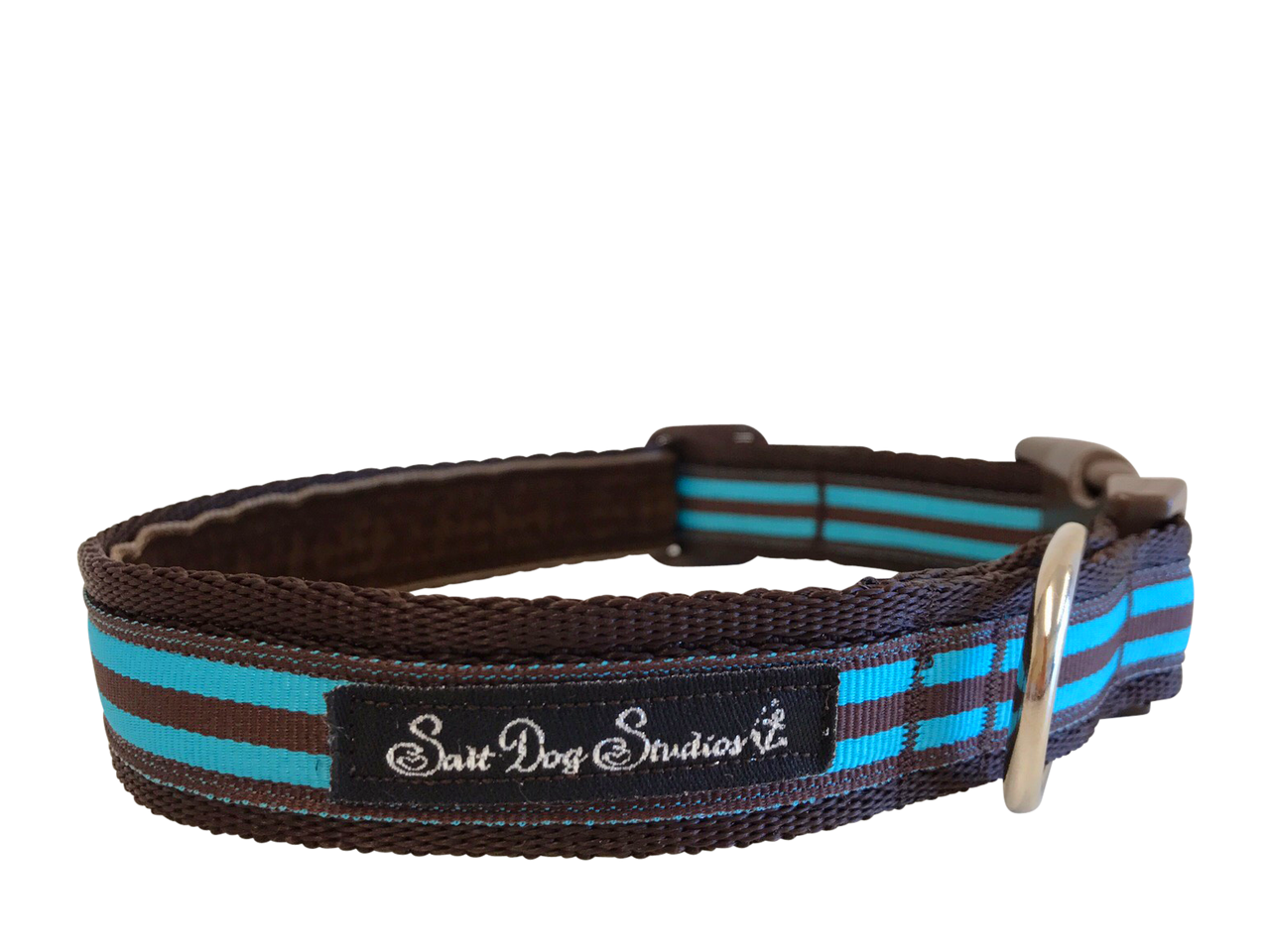 Aqua and Brown Stripe Dog Collar ©