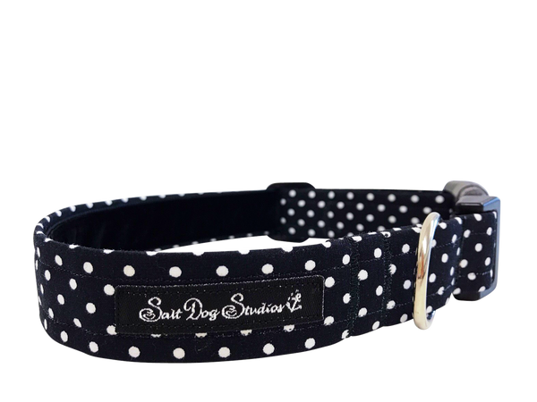 Black Polka Dot Dolly Dog Collar ©