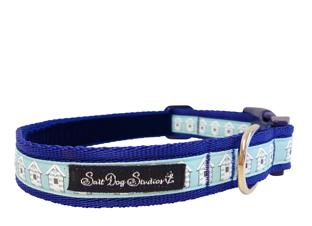 Blue Beach Huts Dog Collar ©