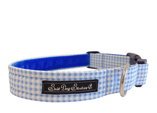 Baby Blue Gingham Dog Collar ©