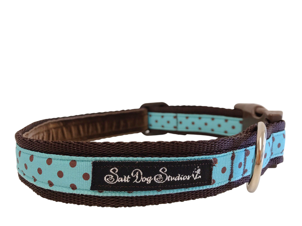 Classic Brown on Aqua Polka Dots Dog Collar ©