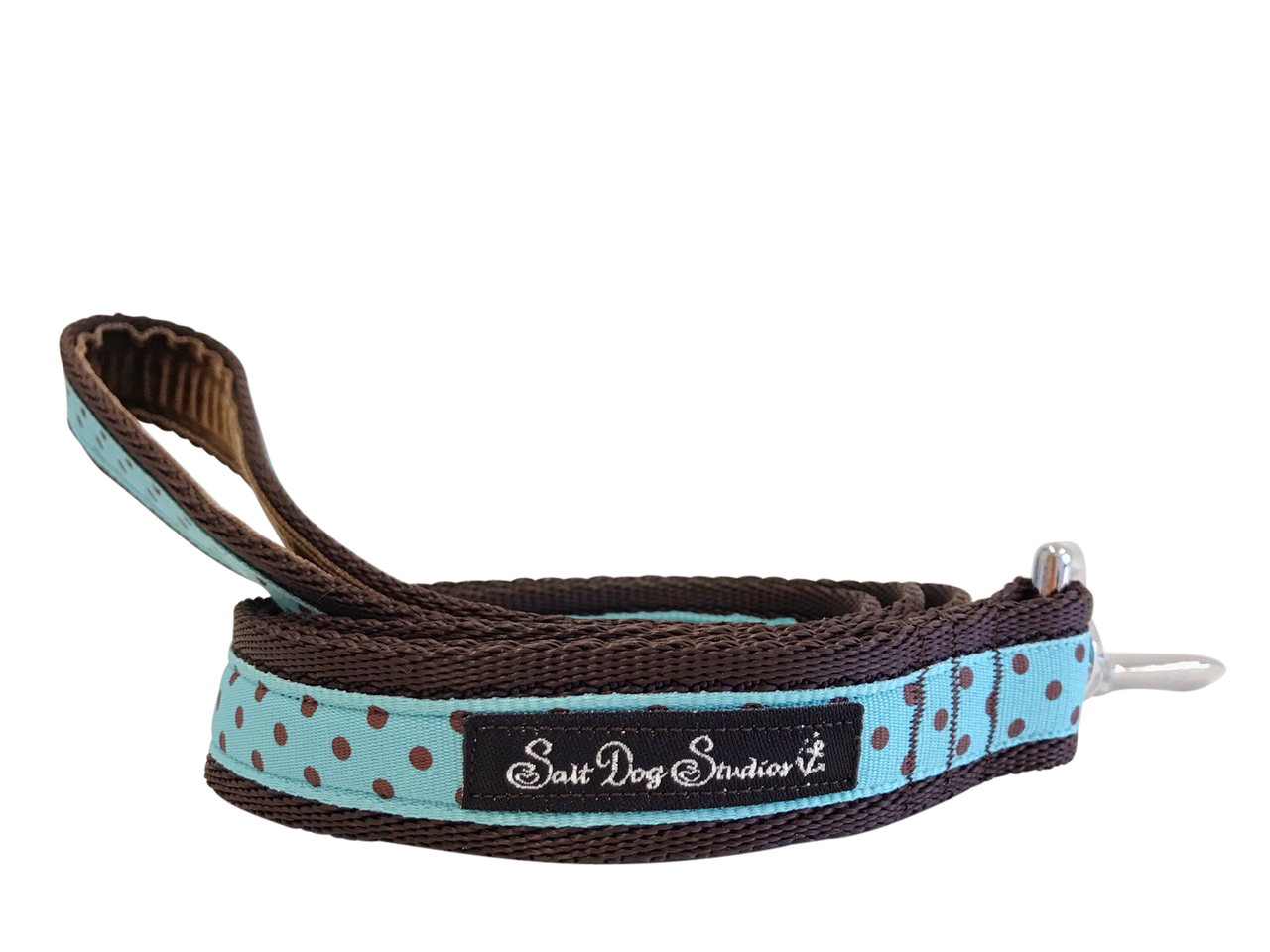Classic Brown on Aqua Polka Dot Dog Lead ©