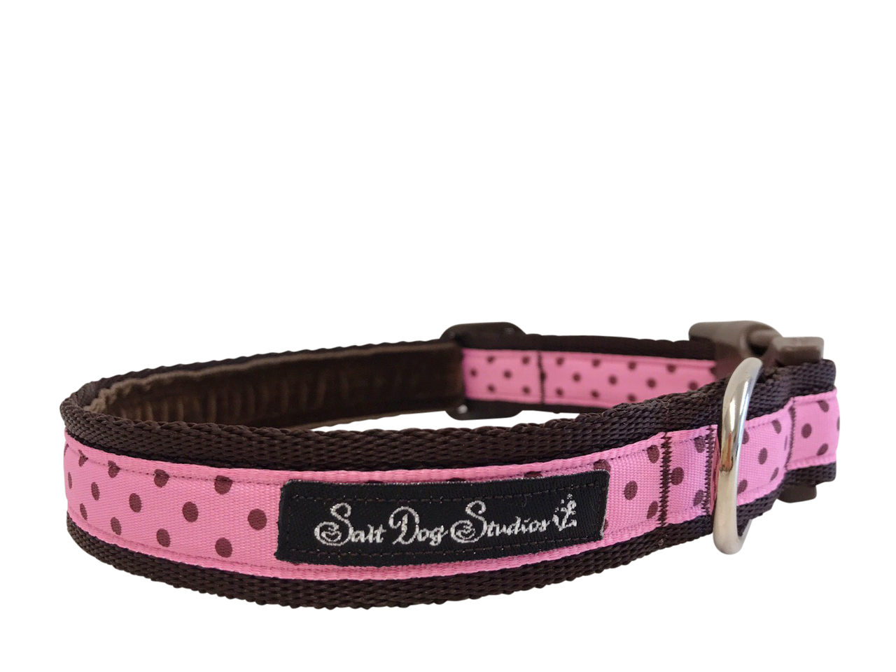 Classic  Brown on Pink Polka Dot Dog Collar ©