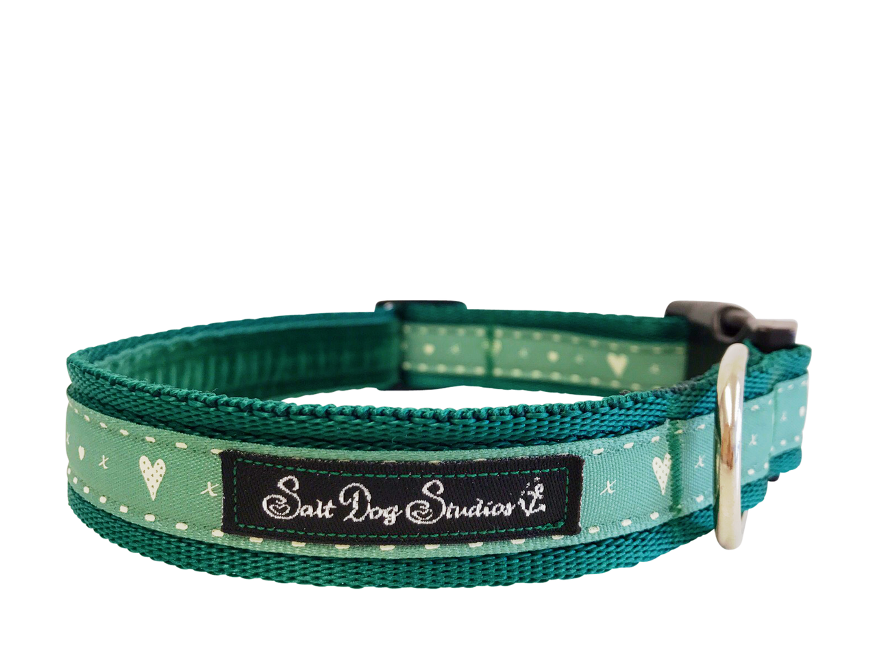 Green Hearts and Kisses Dog Collar ©