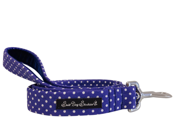 Navy Polka Dot Dolly Fabric Dog Lead ©