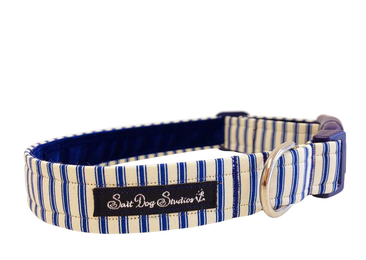 Navy Striped PJ's Dog Collar ©