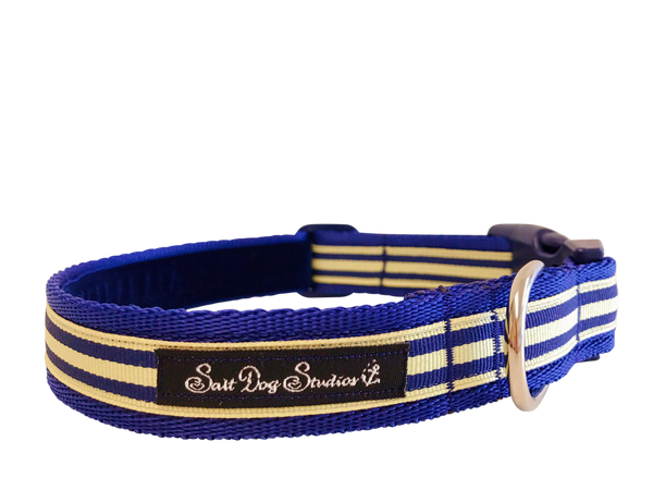 Navy and Cream Stripe Dog Collar ©
