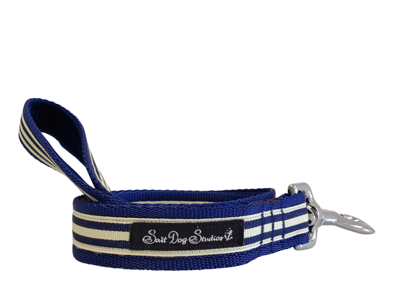 Navy and Cream Stripe Dog Lead ©