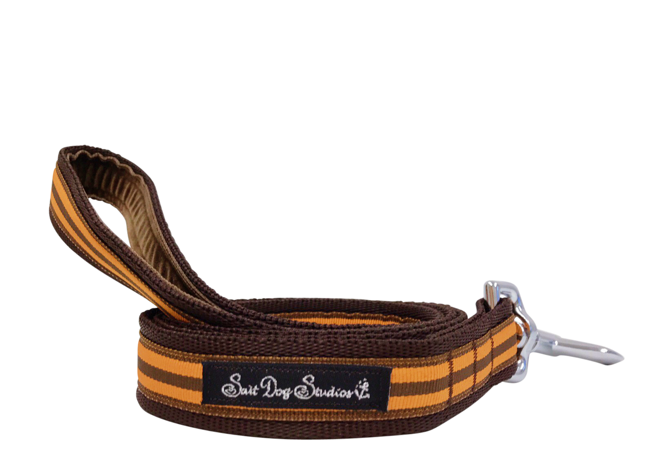 Orange and Brown Stripe Dog Lead ©