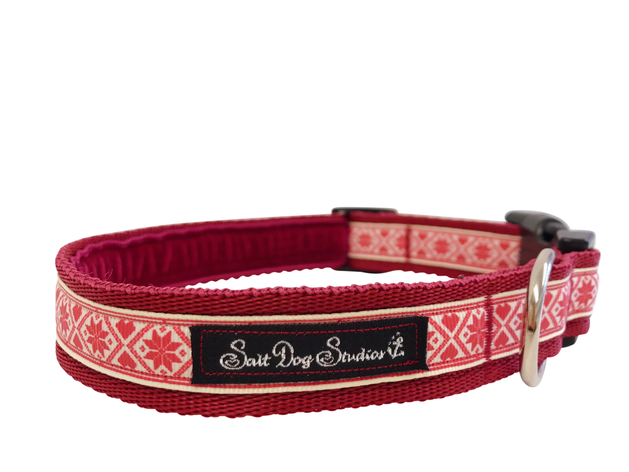 Red Nordic Snowflake Dog Collar ©