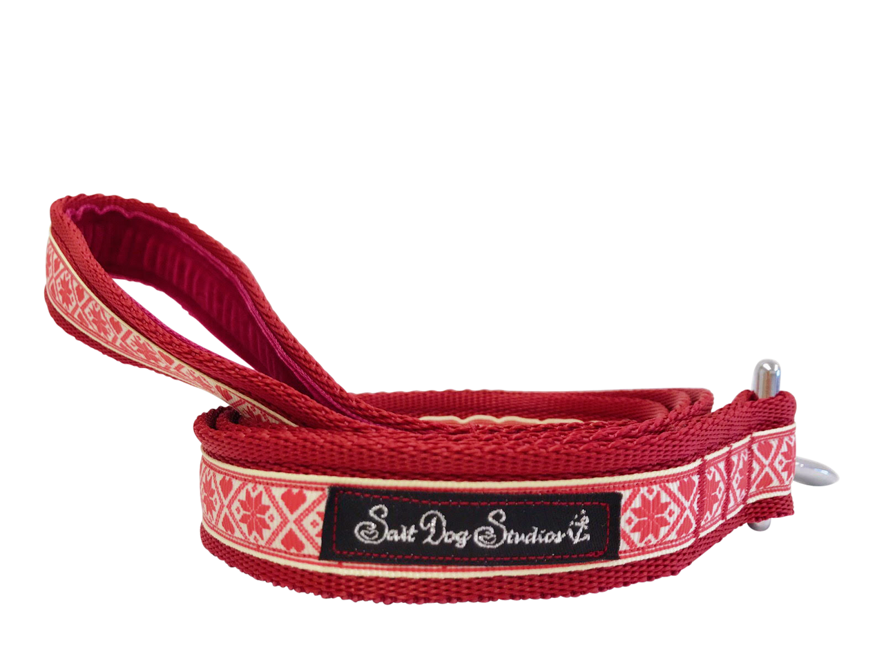 Red Nordic Snowflake Christmas Dog Lead ©