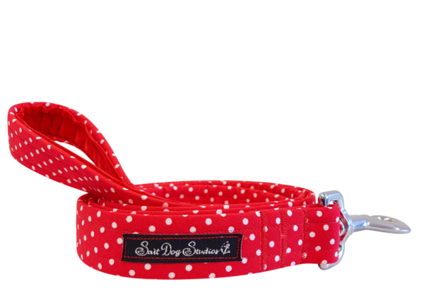 Red Polka Dot Dolly Dog Lead ©