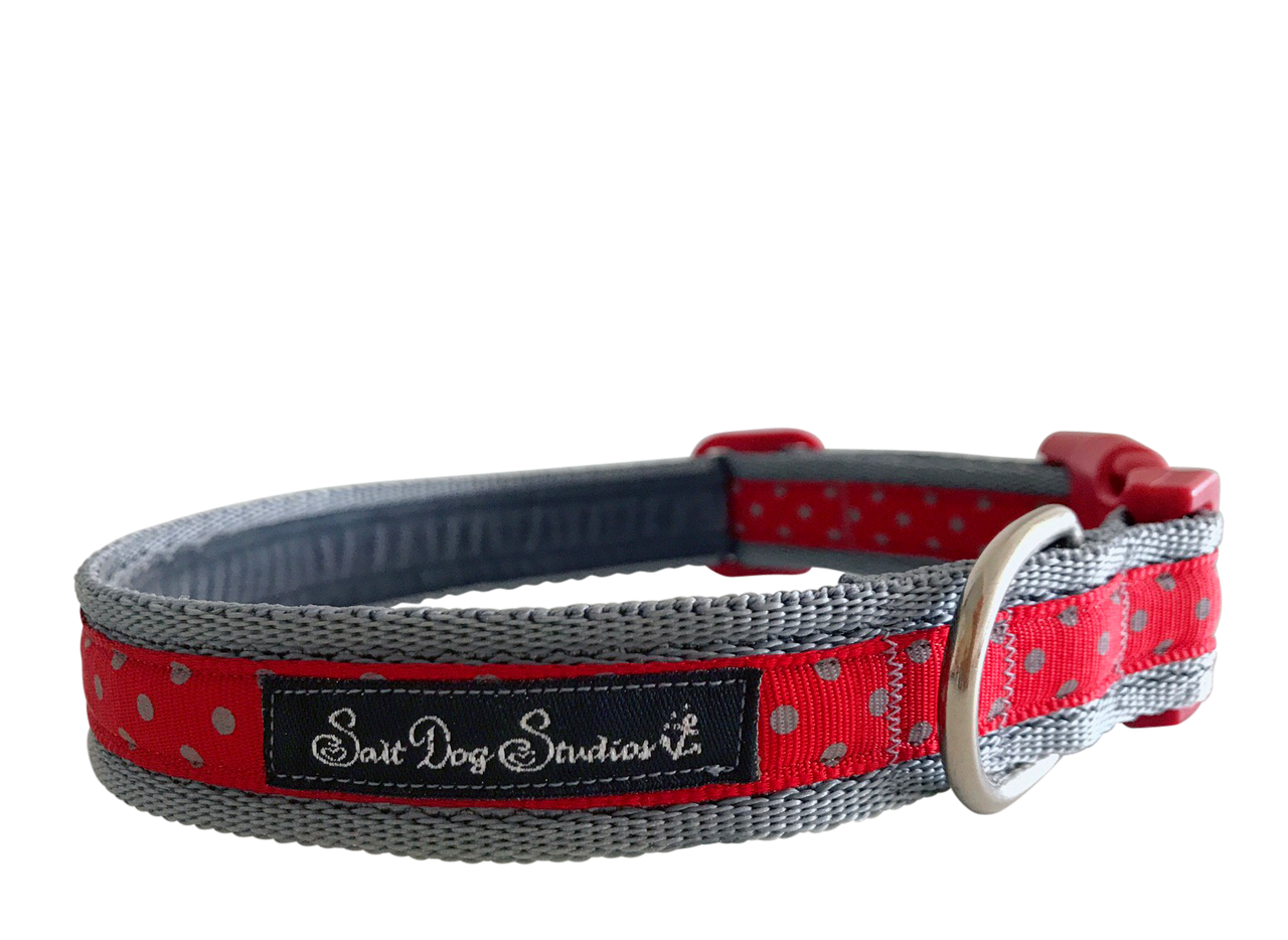 Classic Grey on Red Polka Dot Dog Collar ©