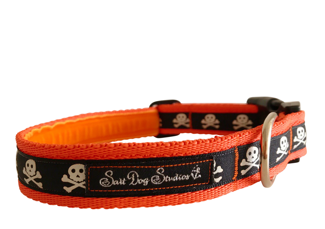 Halloween Black on Orange Skulls Ribbon Dog Collar ©