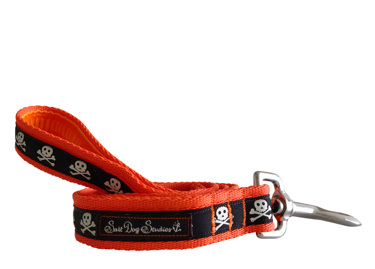 Halloween Black on Orange Skulls Ribbon Dog Lead ©