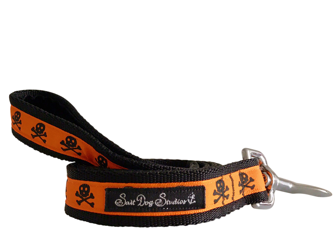Halloween Orange on Black Skulls Ribbon Dog Lead ©