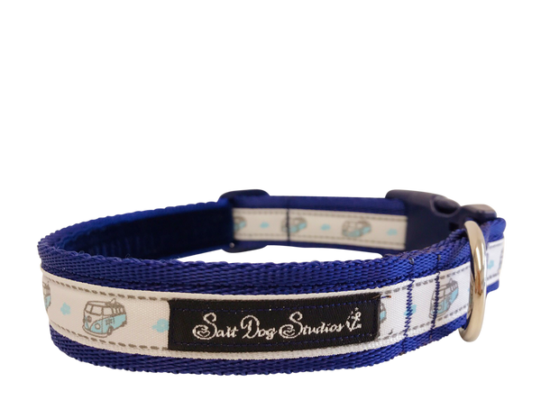 Blue Happy Campers Dog Collar ©