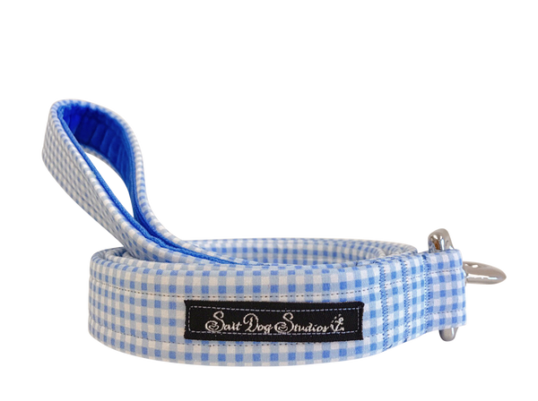 Baby Blue Gingham Dog Lead ©