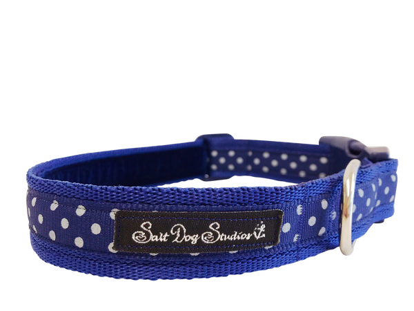 Classic Navy Polka Dots Dog Collar ©