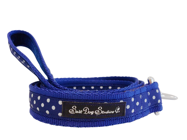 Classic Navy Polka Dot Dog Lead ©