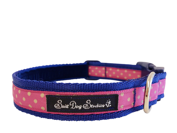 Classic Pink Polka Dots Dog Collar ©