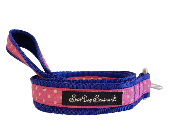 Classic Pink Polka Dot Dog Lead ©