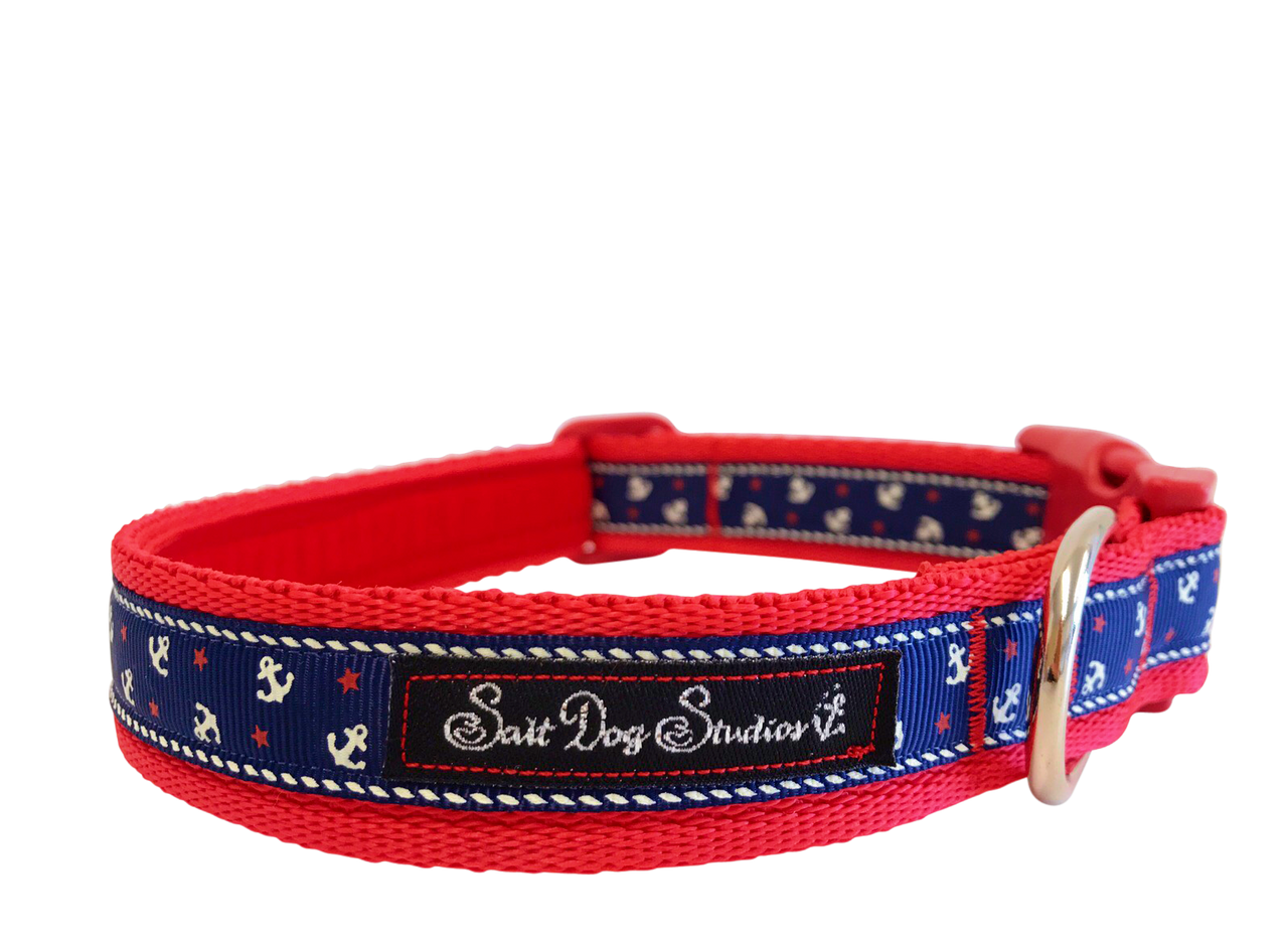 Little Sailors Navy on Red Dog Collar ©
