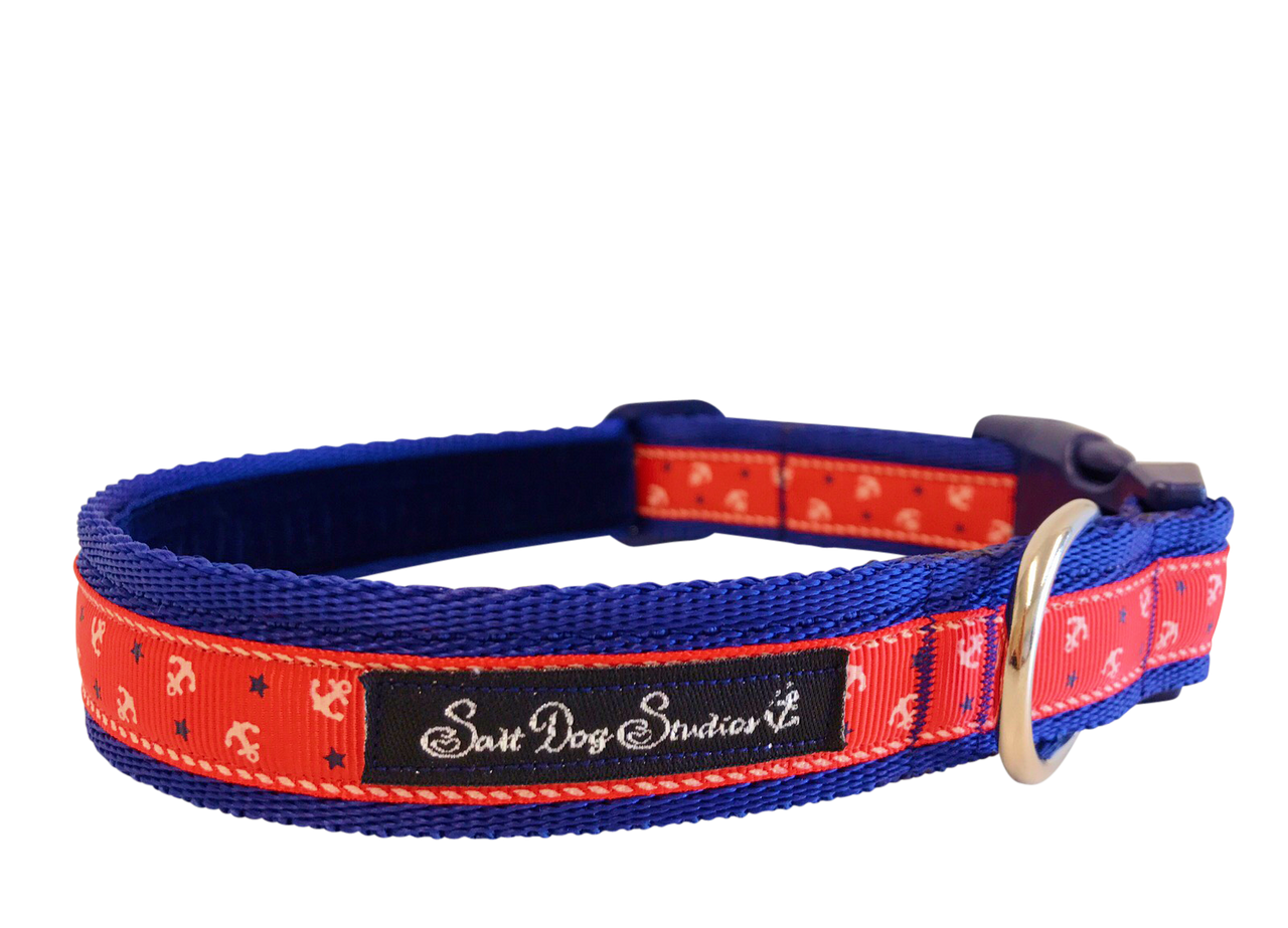 Little Sailors Red on Navy Dog Collar ©