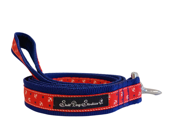 Little Sailors Red on Navy Dog Lead ©