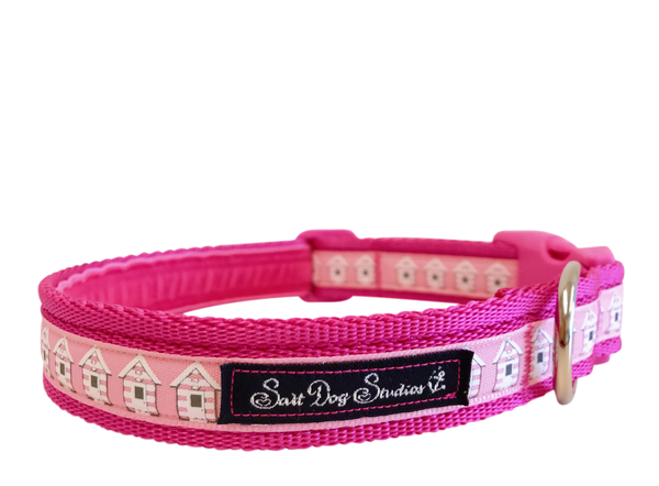 Pink Beach Huts Dog Collar ©