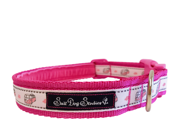 Pink Happy Campers Dog Collar ©