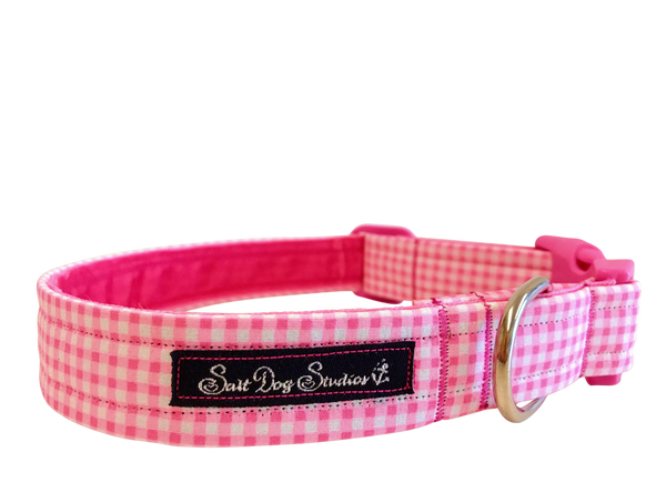Baby Pink Gingham Dog Collar ©
