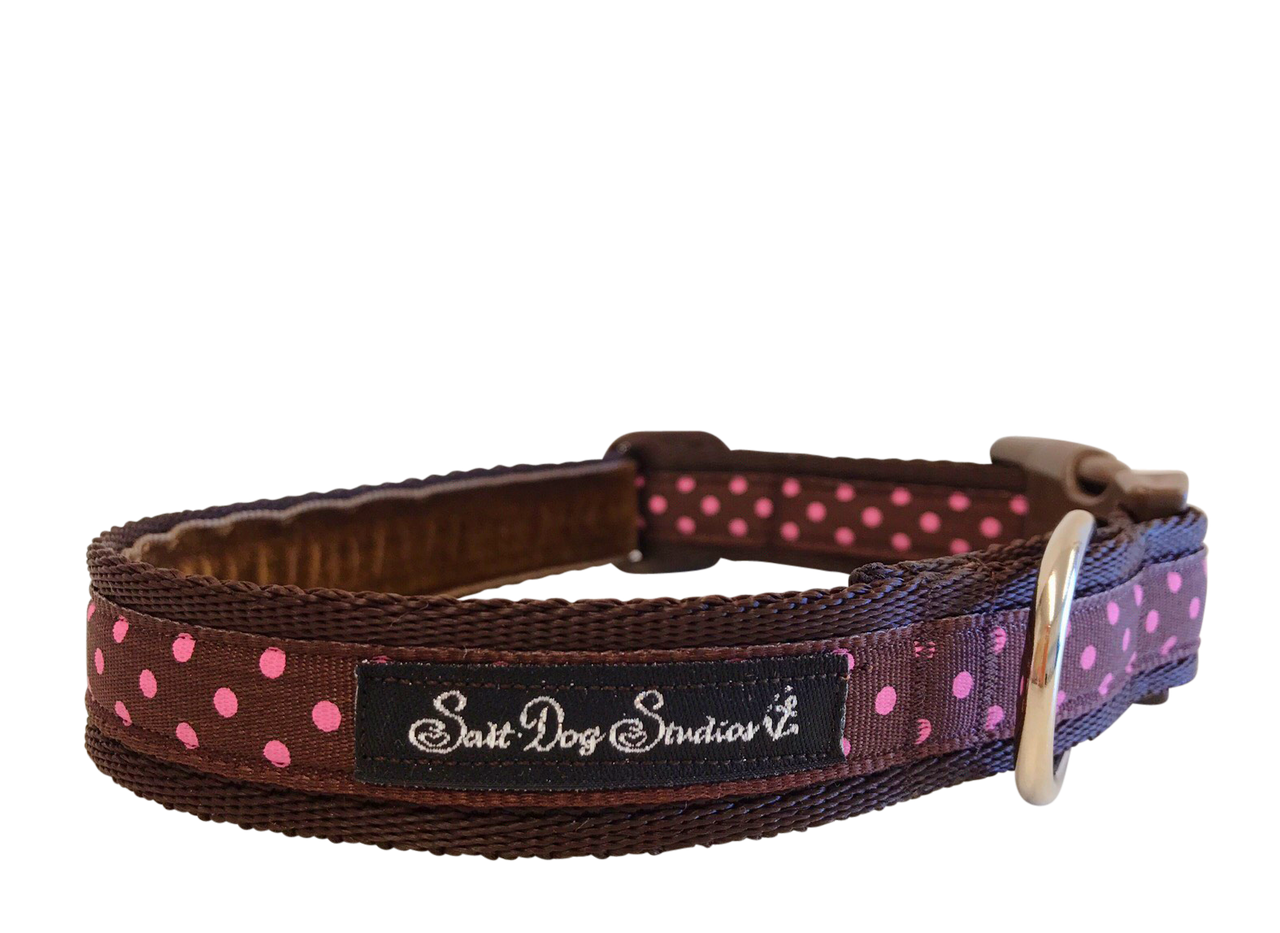 Classic Pink on Brown Polka Dots Dog Collar ©