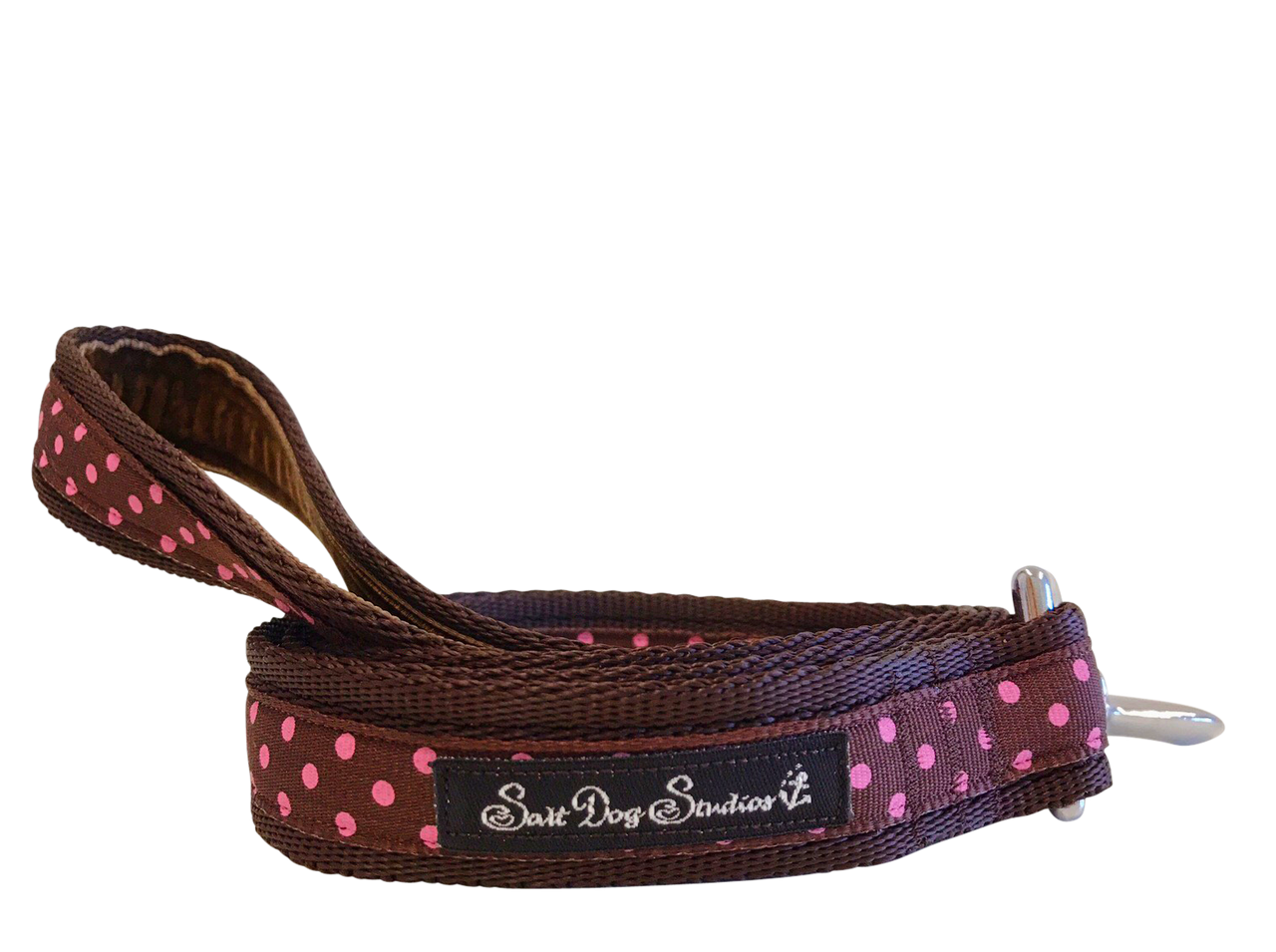 Classic Pink on Brown Polka Dots Dog Lead ©