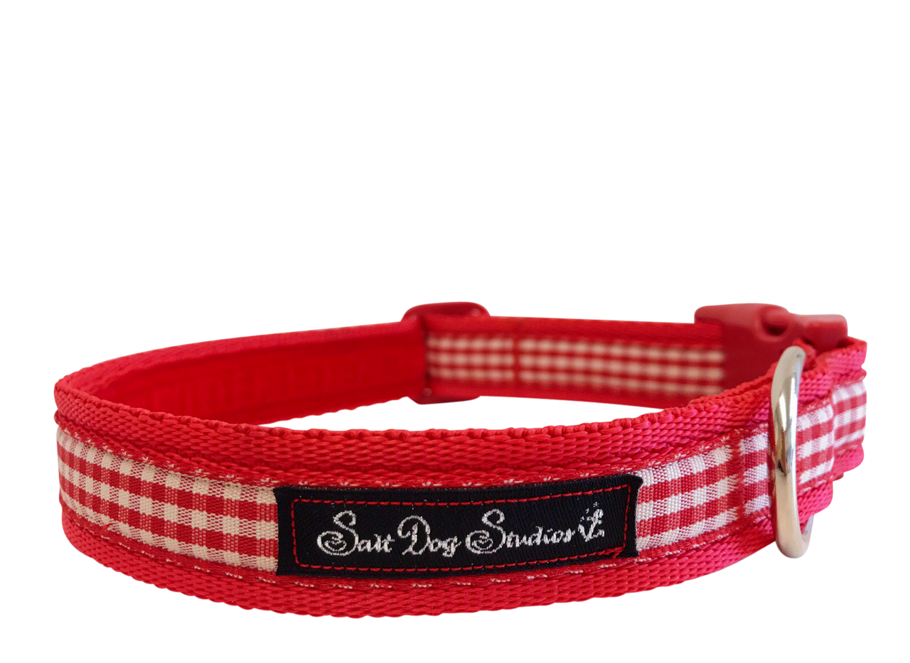 Red Gingham Dog Collar ©