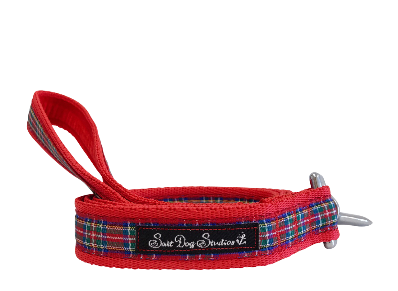 Red Tartan Dog Lead ©