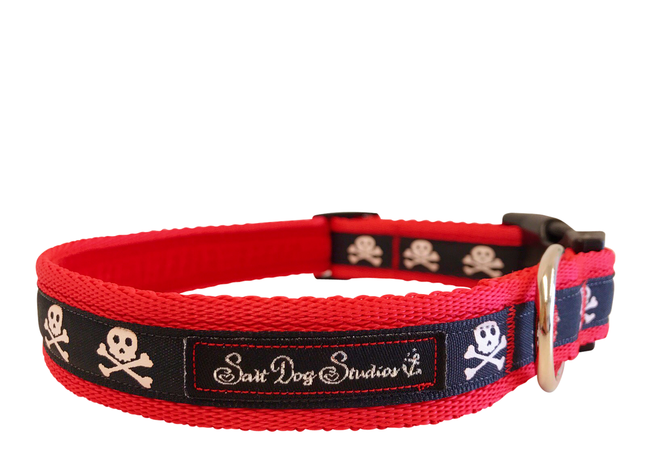 Skulls Ribbon Dog Collar ©