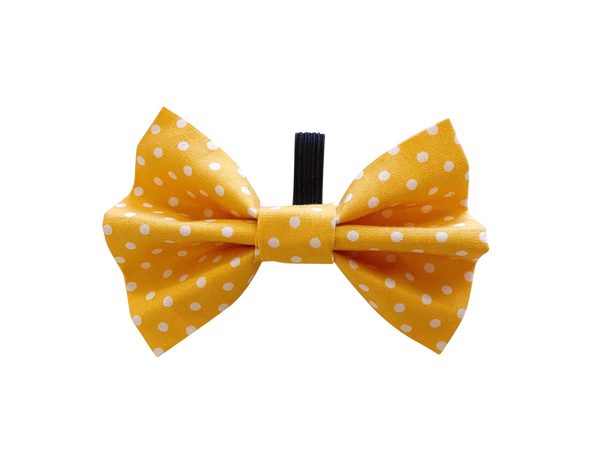 Yellow Polka Dot Dolly Bow Tie ©