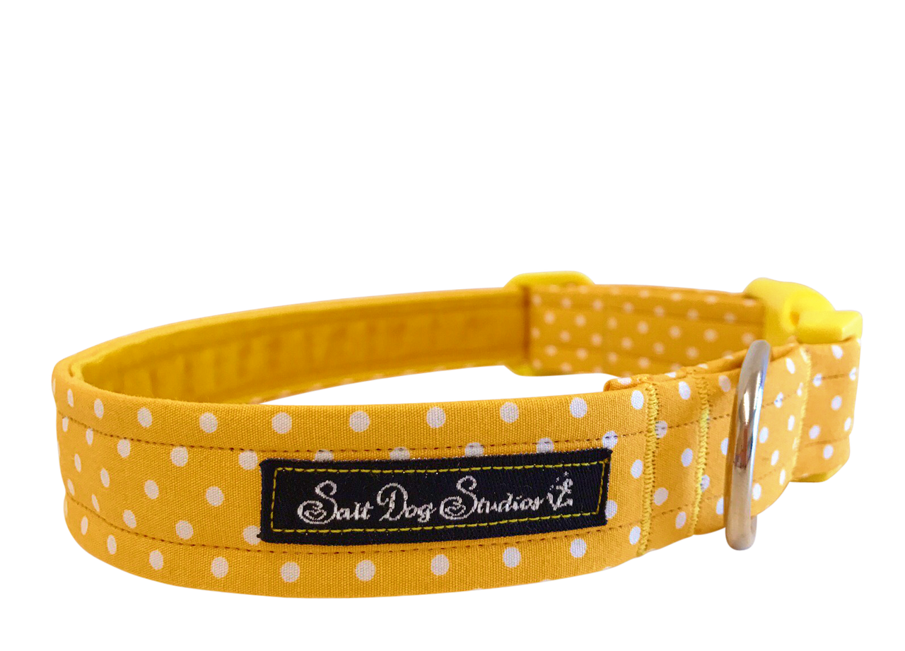 Yellow Polka Dot Dolly Dog Collar ©
