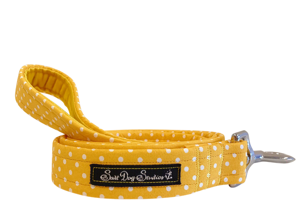 Yellow Polka Dot Dolly Dog Lead ©