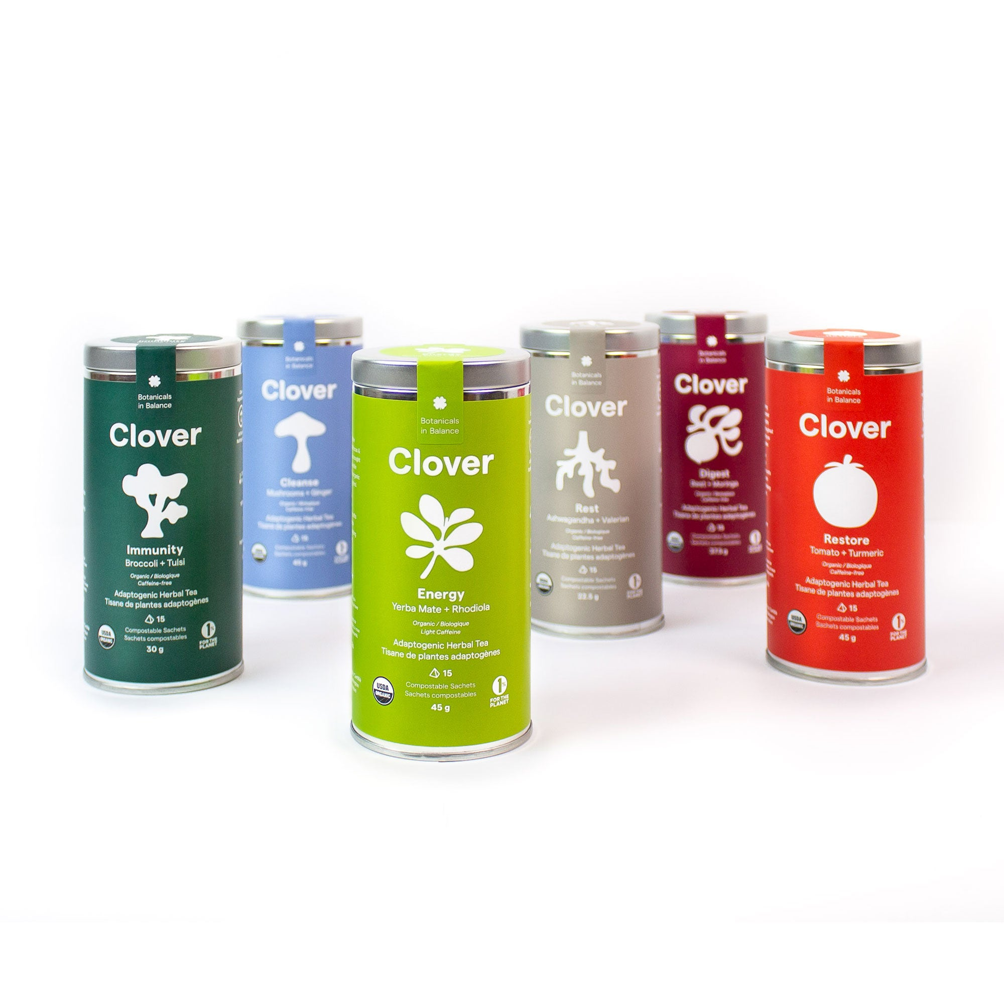Clover All 6 Blends adaptogenic herbal tea steel canisters, adaptogens for stress relief