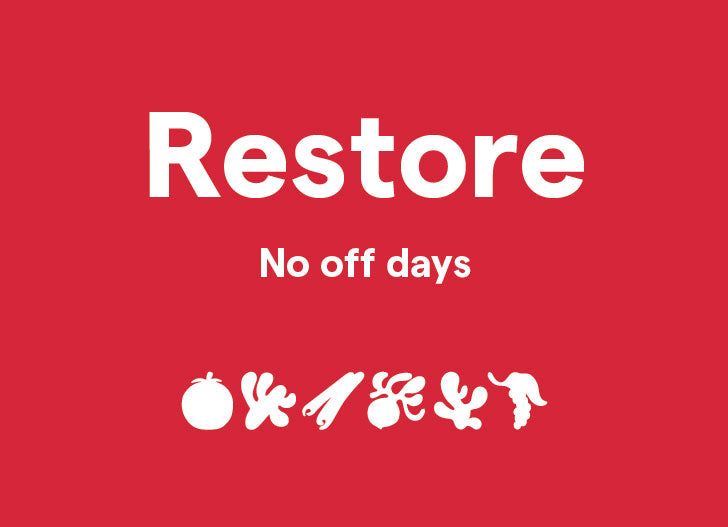 Clover Restore - No off days, shown with blend illustrations.