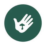 Clover ethical ingredient sourcing icon - hand with mushroom