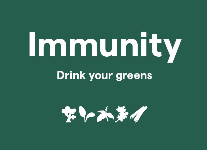 Clover Immunity - Drink your greens, shown with blend illustrations