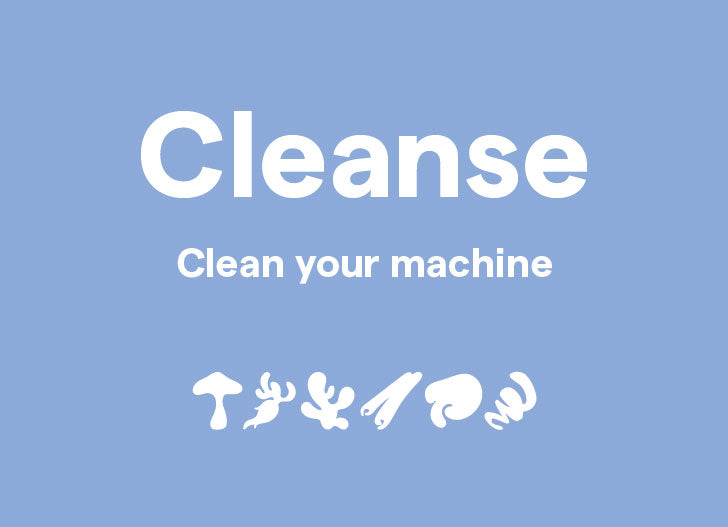 Clover Cleanse - Clean your machine, shown with blend illustrations
