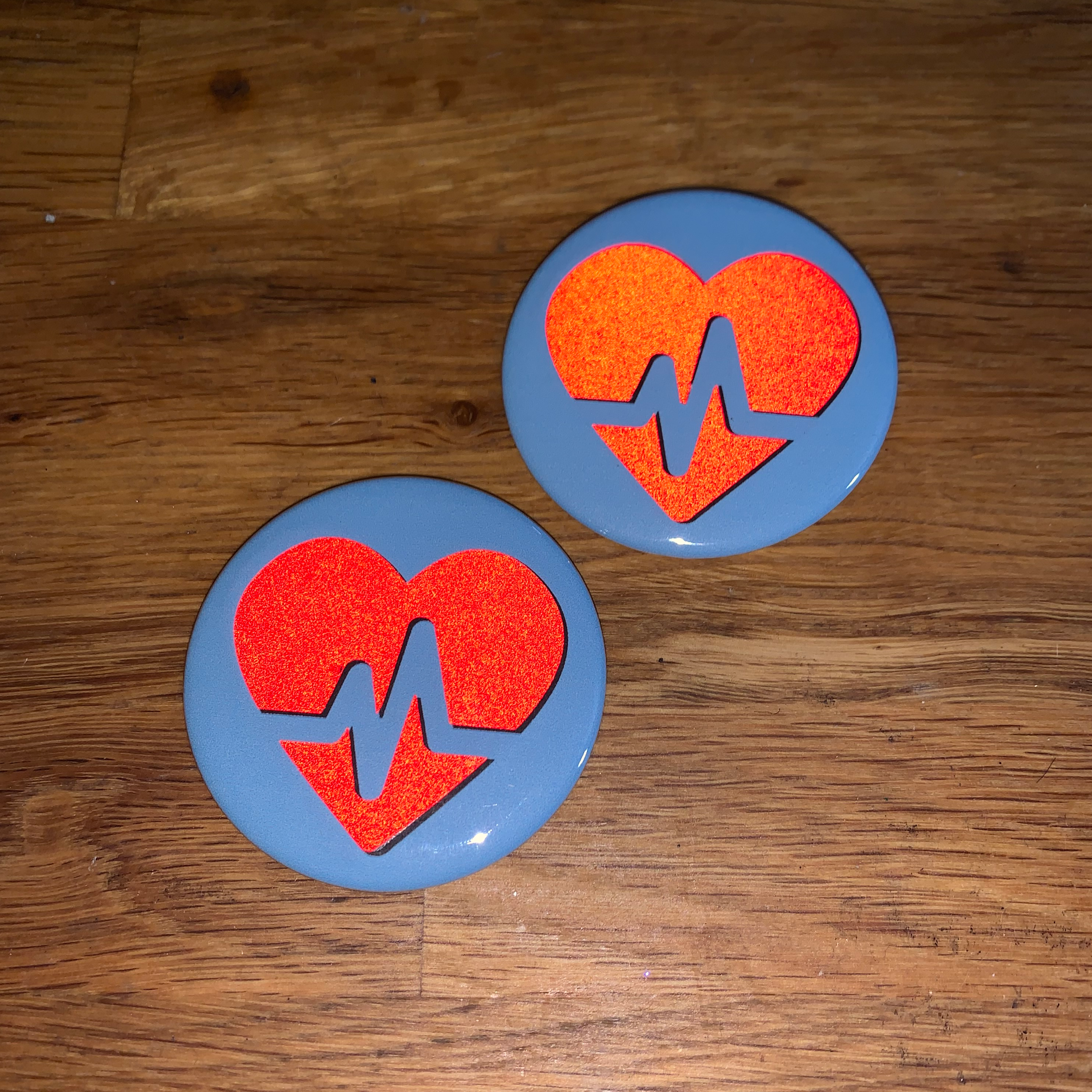 Buttons for Henry - Reflective heart