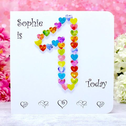 1st Birthday Card - Hearts, Personalised