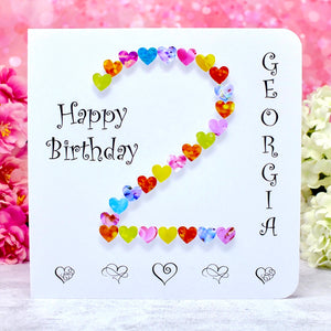 Age 2 Birthday Card - Hearts, Personalised