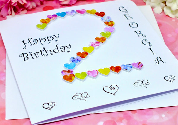 2nd Birthday Card - Hearts, Personalised Alternate View